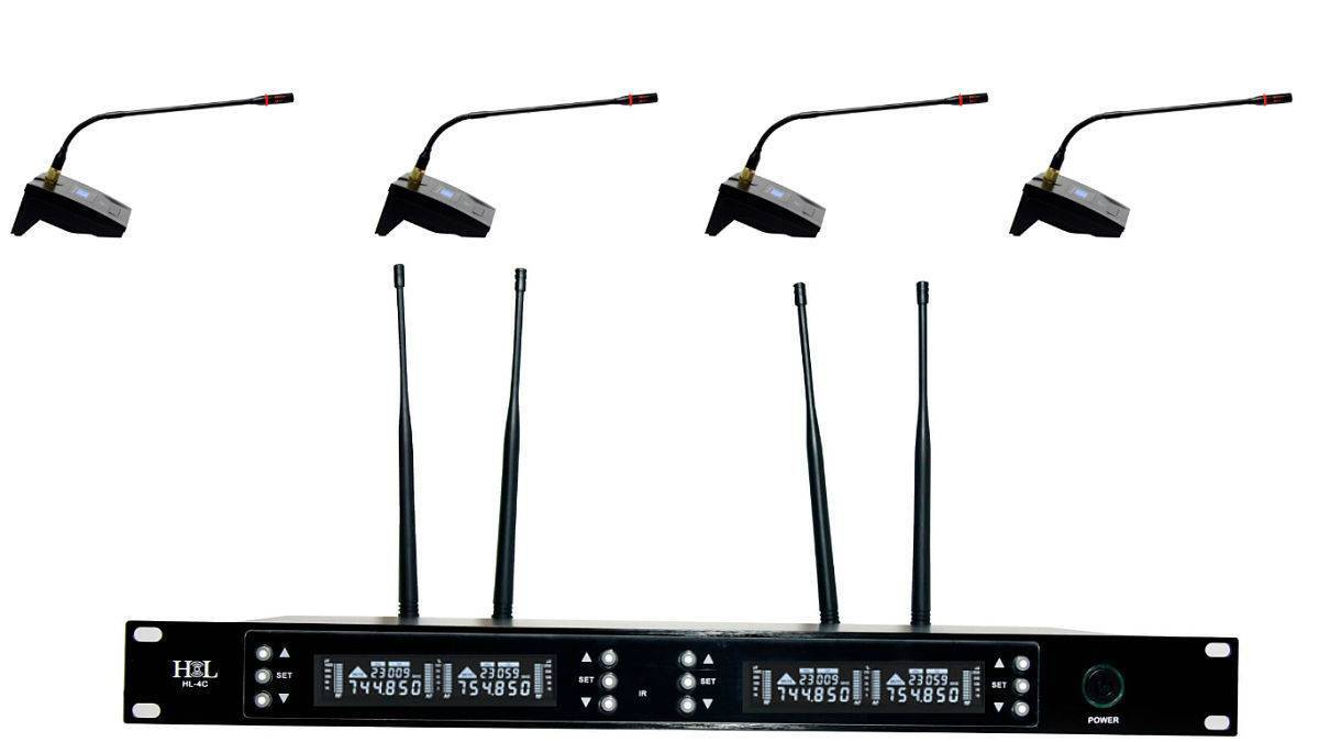 HL-4C Sistema de 4 micrófonos inalámbricos para conferencias